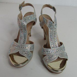 Forever Strappy Rhinestone Glitter Open Toe Heel